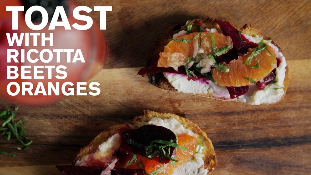 Toast with Ricotta, Beets, and Oranges  image