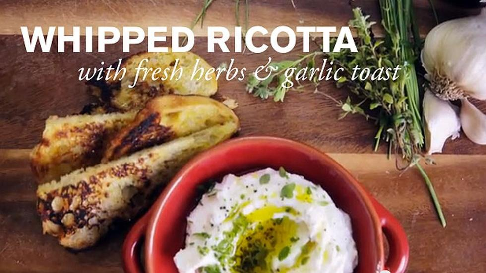 Whipped Ricotta with Fresh Herbs & Garlic Toast  image