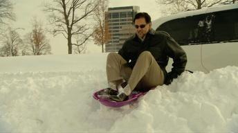 On the Road: Eduardo goes sledding