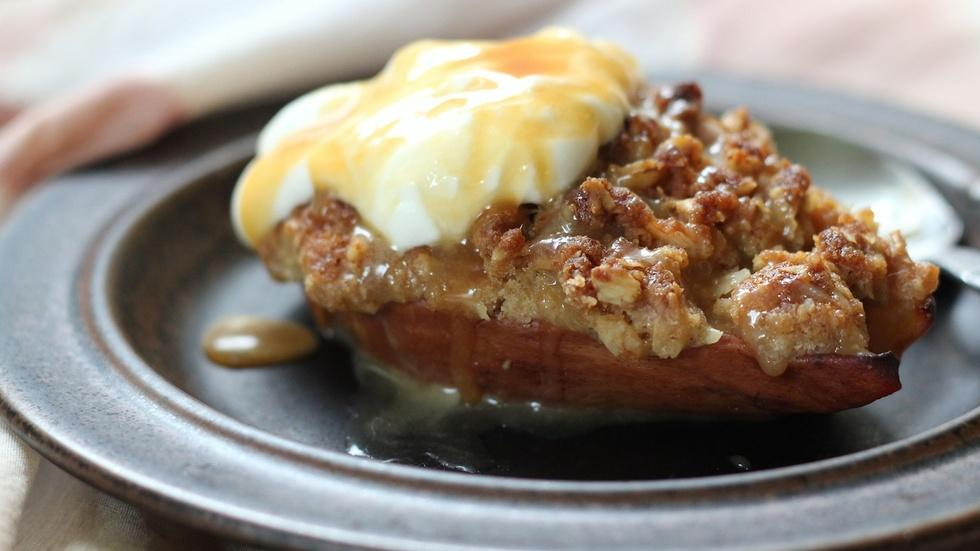 Pear Crisp with Salted Bourbon Caramel image