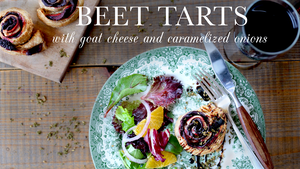 Beet Tarts with Goat Cheese and Caramelized Onions