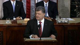 Poroshenko appeals for U.S. aid and tougher Russia sanctions