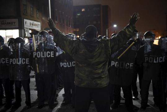 Protesters in Baltimore clash with police over Freddie Gray