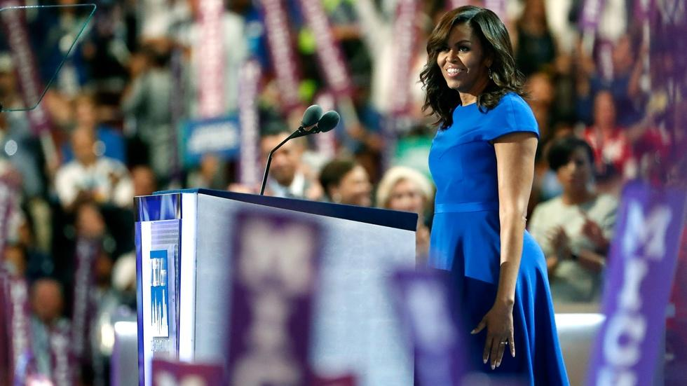 First lady Michelle Obama's full speech at the 2016 DNC image