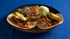 Chicken Tacos with Hot Corn Bean Relish