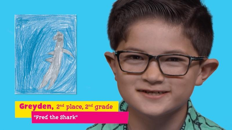 "Featuring ""Fred the Shark"" by Greyden"
