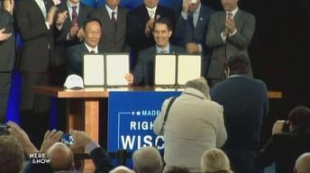 Walker And Gou Formally Sign Foxconn Contract