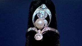 Image of Appraisal: French Art Nouveau Diamond & Natural Pearl Ring,