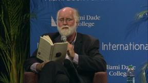 Image of Nicholson Baker in conversation with NPR's Alan Cheuse