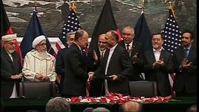 Image of U.S. and Afghanistan sign security agreement
