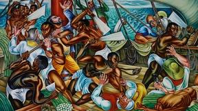 Image of African captives rise up against slavery in Talladega murals
