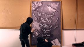 Image of Chalkboard ninjas lock the doors and leave art behind