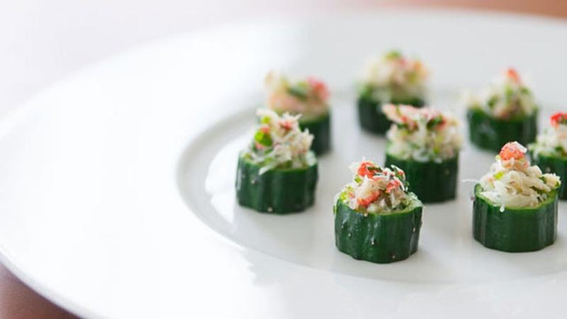 Serve Guests Crab Salad in Cucumber Cups