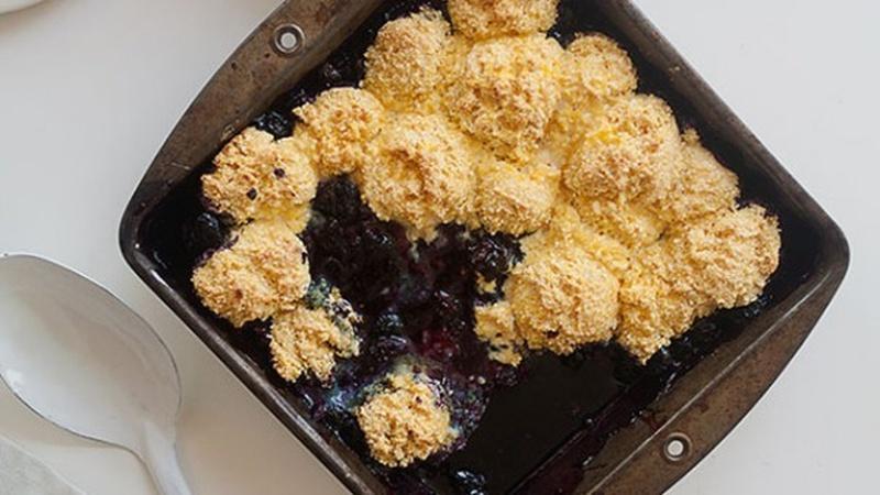 Bake Blueberry Cornbread Cobbler
