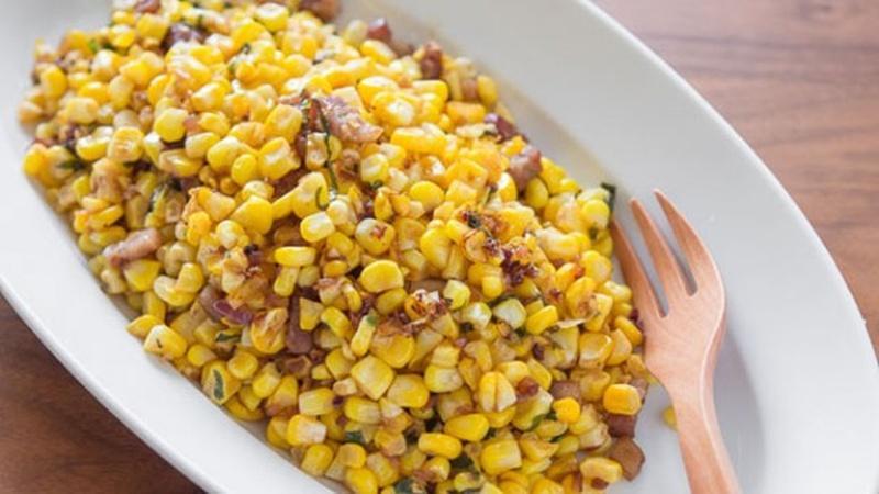 Saute Corn with Bacon Vinaigrette