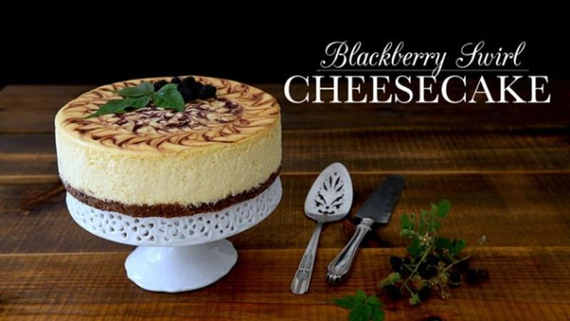 Bake a Blackberry Swirl Cheesecake
