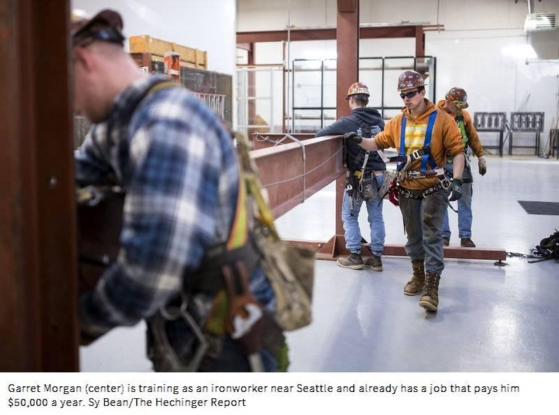 Garret Morgan is training as an ironworker near Seattle and already has a job that pays him $50,000 a year