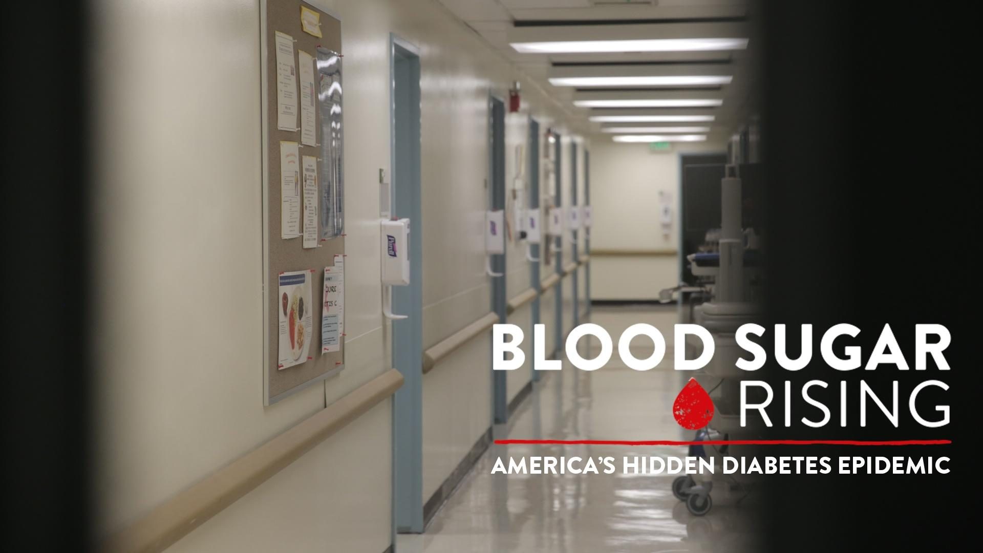 The Blood Sugar Rising Logo over a photo of a hospital hallway