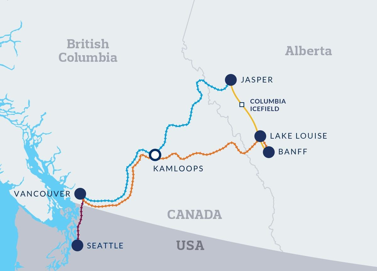 Map of the Rocky Mountaineer Journey