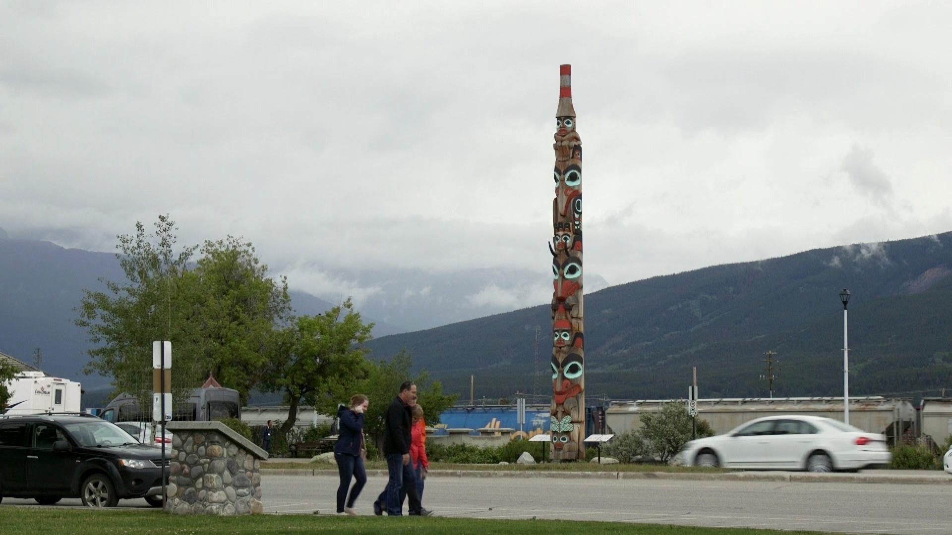 Tourist walkingin Jasper