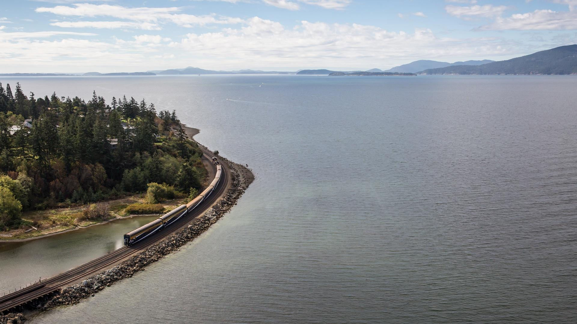 Rocky Mountaineer traveling along Chuckanut Bay.