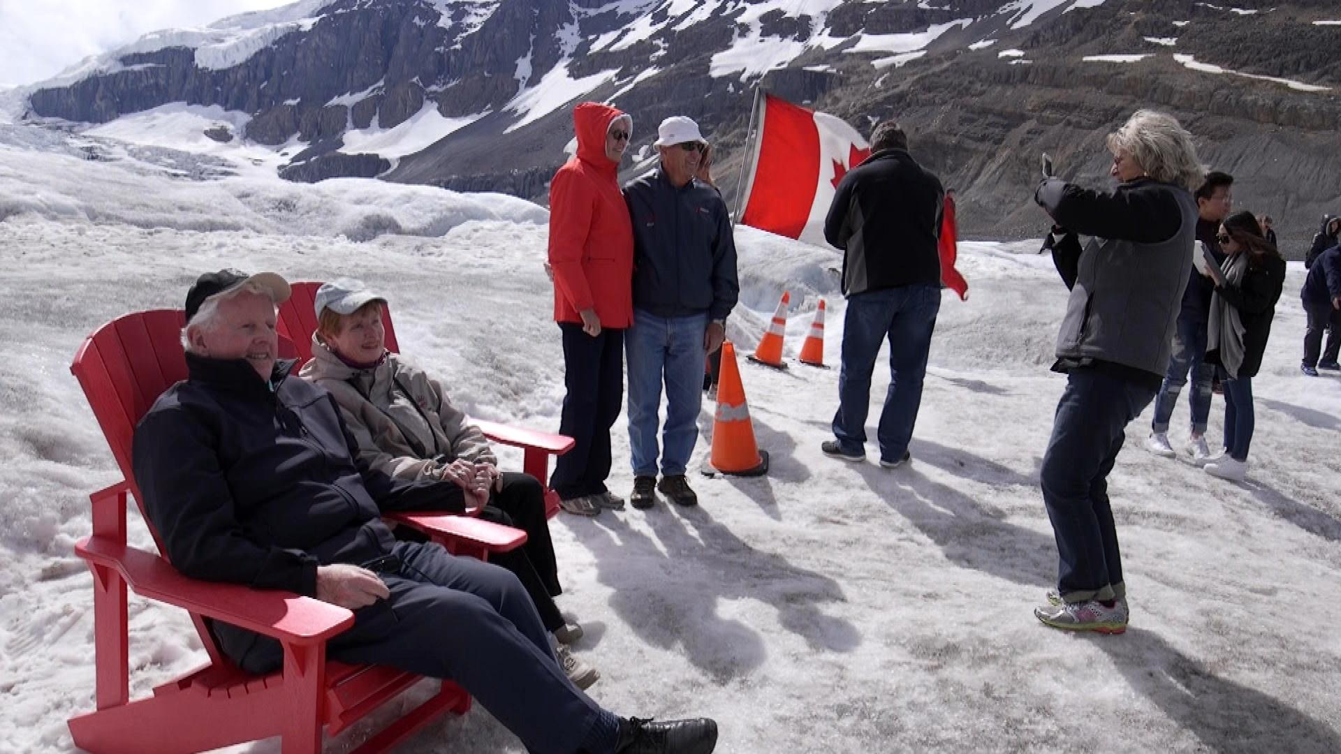 Tourist on the Athabasca Glacier