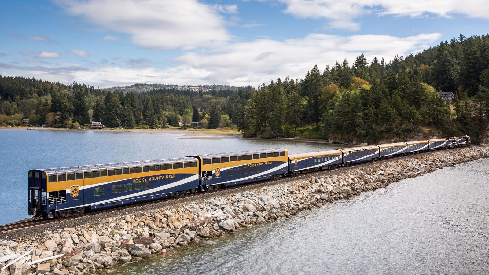 Rocky Mountaineer travelling along Chuckanut Bay.