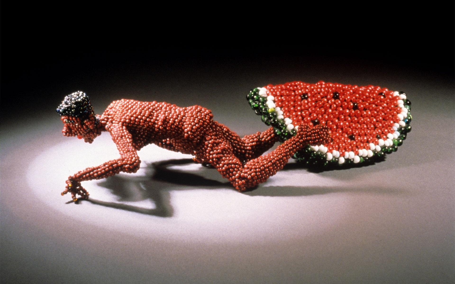 Joyce J. Scott Man Eating Watermelon Beadwork