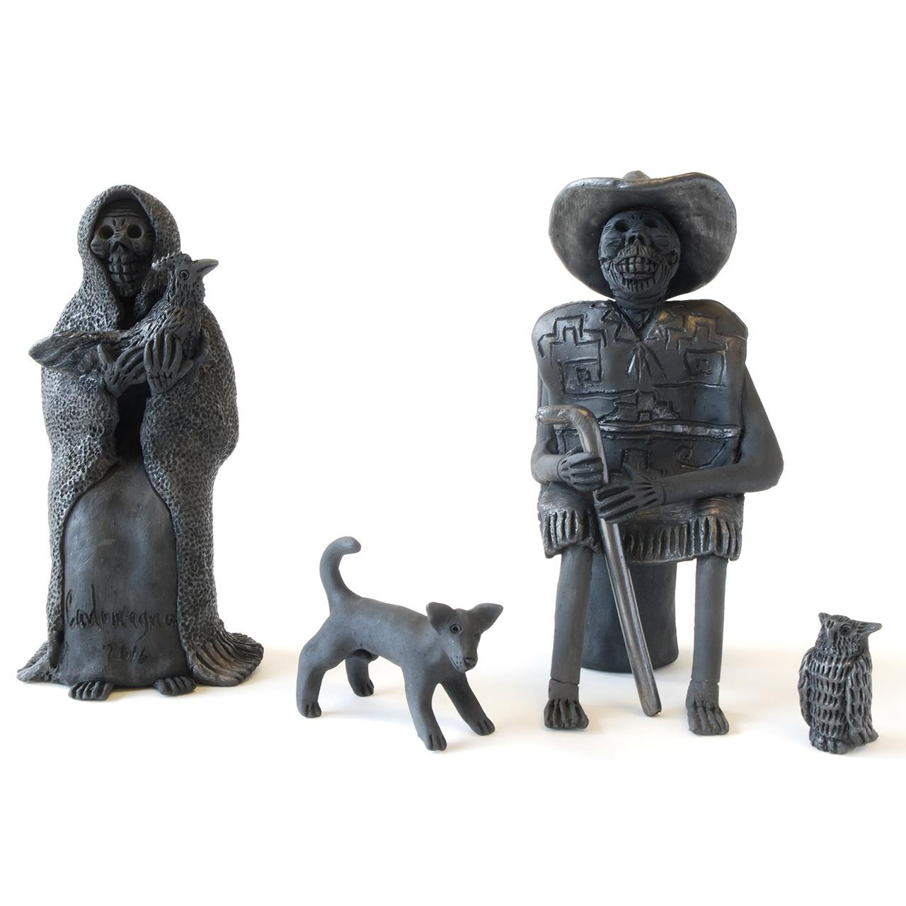 "Objects, Borders and Neighbors, Carlomagno P. Martinez, ""Los Abuelos"", Black Clay, Woman , Seated man, Dog, Owl"