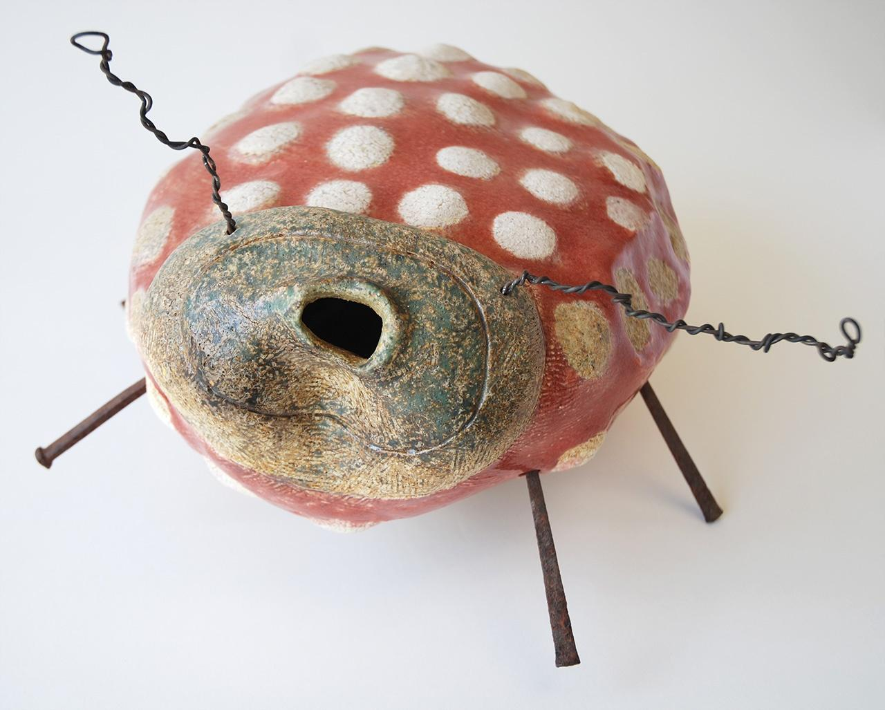 "Objects, Borders and Neighbors, Veralee Bassler, ""Cochineal Bug"", Ceramic, wire, L 12.75"" x W 12"" x H 6.75"""