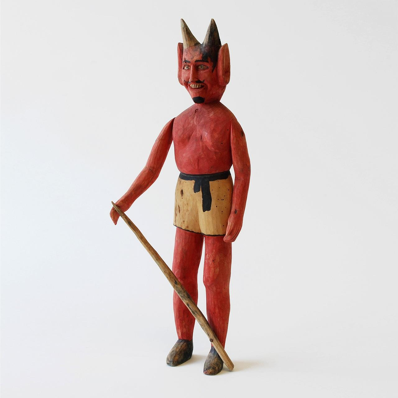 "Objects, Borders and Neighbors, Manuel Jimenez, ""Devil"", wood, paint, Early 1970s, Jim and Veralee Bassler Collection"