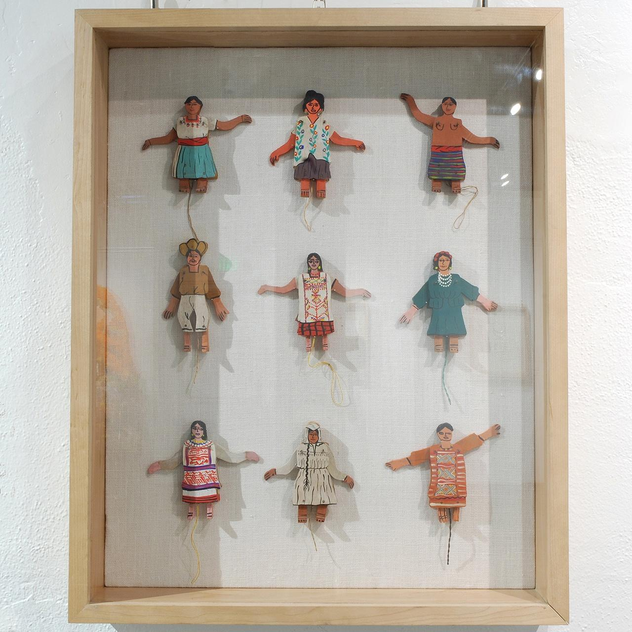 "Objects, Borders and Neighbors, Unknown artist, Set of 9 wooden dolls (movable arms), Wood, paint. Largest with arms down - L6.25"" x W3"" x D1"". Jim and Veralee Bassler Collection"