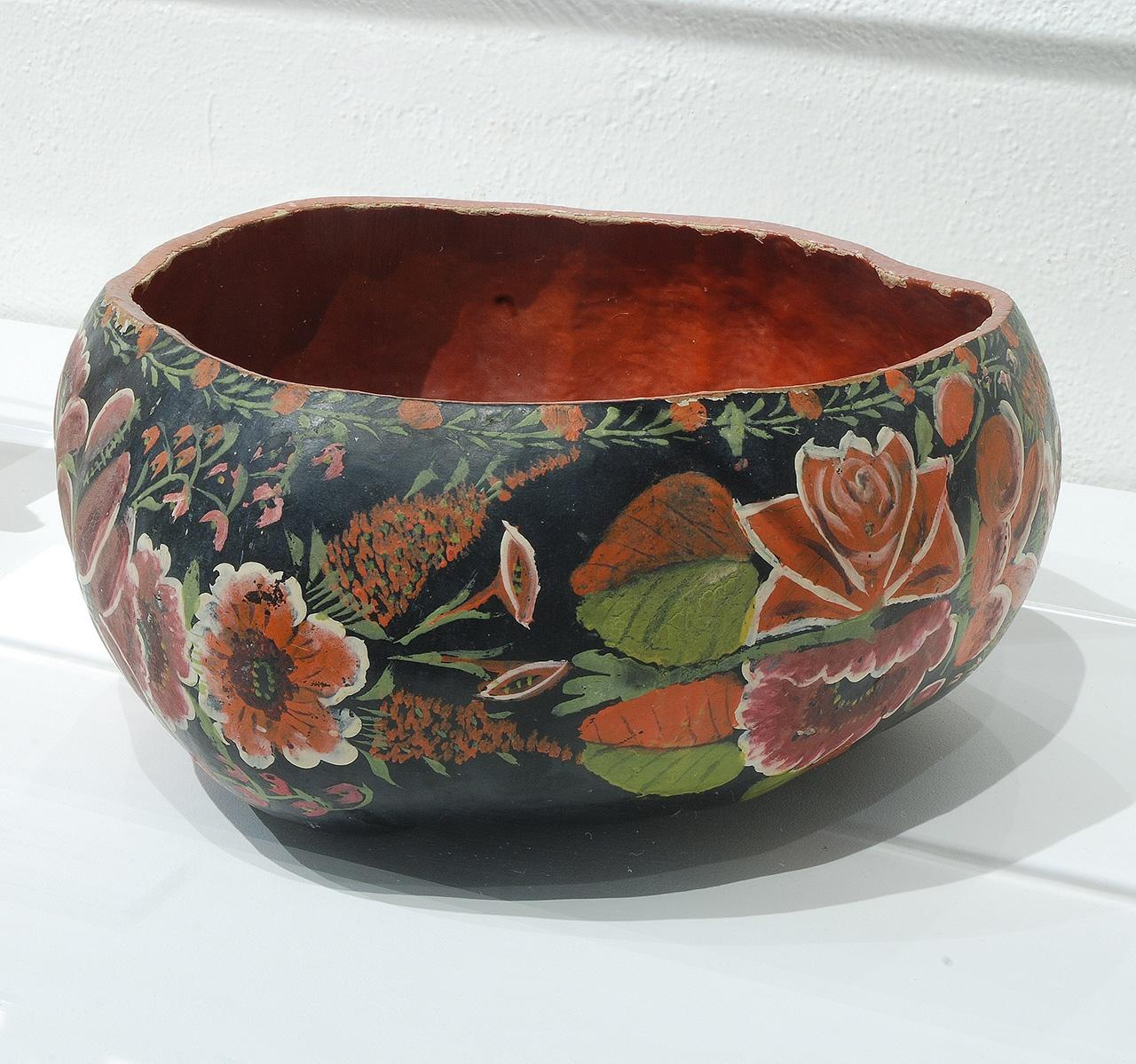 """Objects, Borders and Neighbors, Unknown artist, Painted gourd, DIA l5"""" x H6.5"""", Jim and Veralee Bassler Collection"""