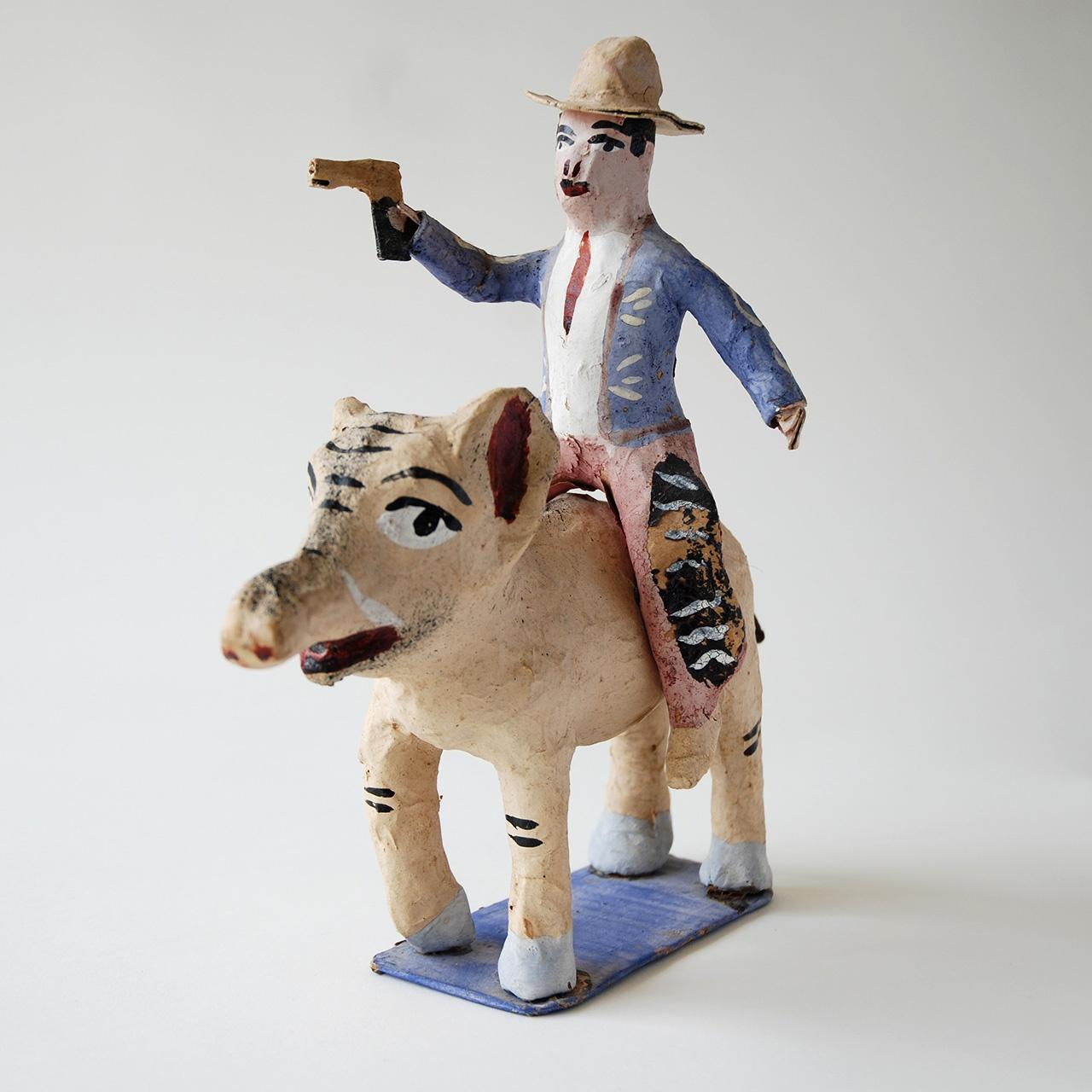 """Objects, Borders and Neighbors Unknown artist, """"Paper mache"""", Papier-mache, paint, Jim and Veralee Bassler Collection"""