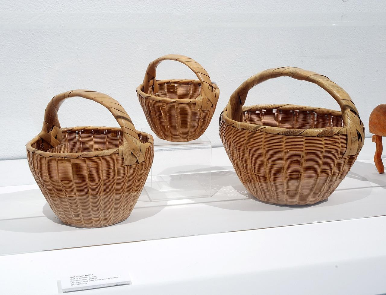 Objects, Borders and Neighbors, Unknown Artist, Set of baskets. n.d. Cariso (river grass) Veralee and Jim Bassler Collection