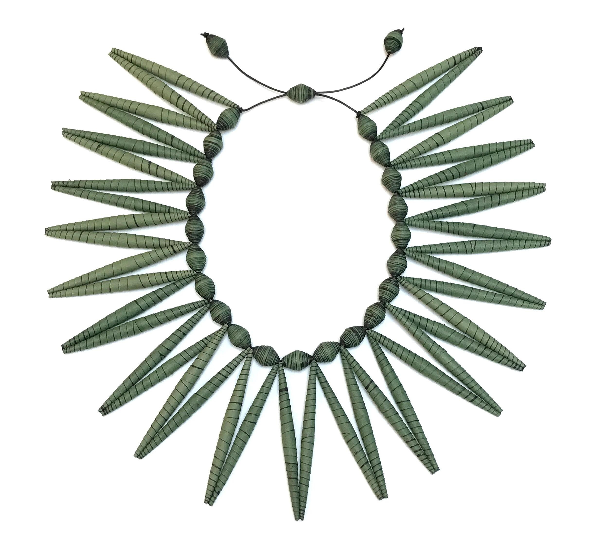 "Objects, Borders and Neighbors, Taller Arte Papel/ Kiff Slemmons, ""Agave Necklace"" - green; Agave Necklace 2 teal Paper,"