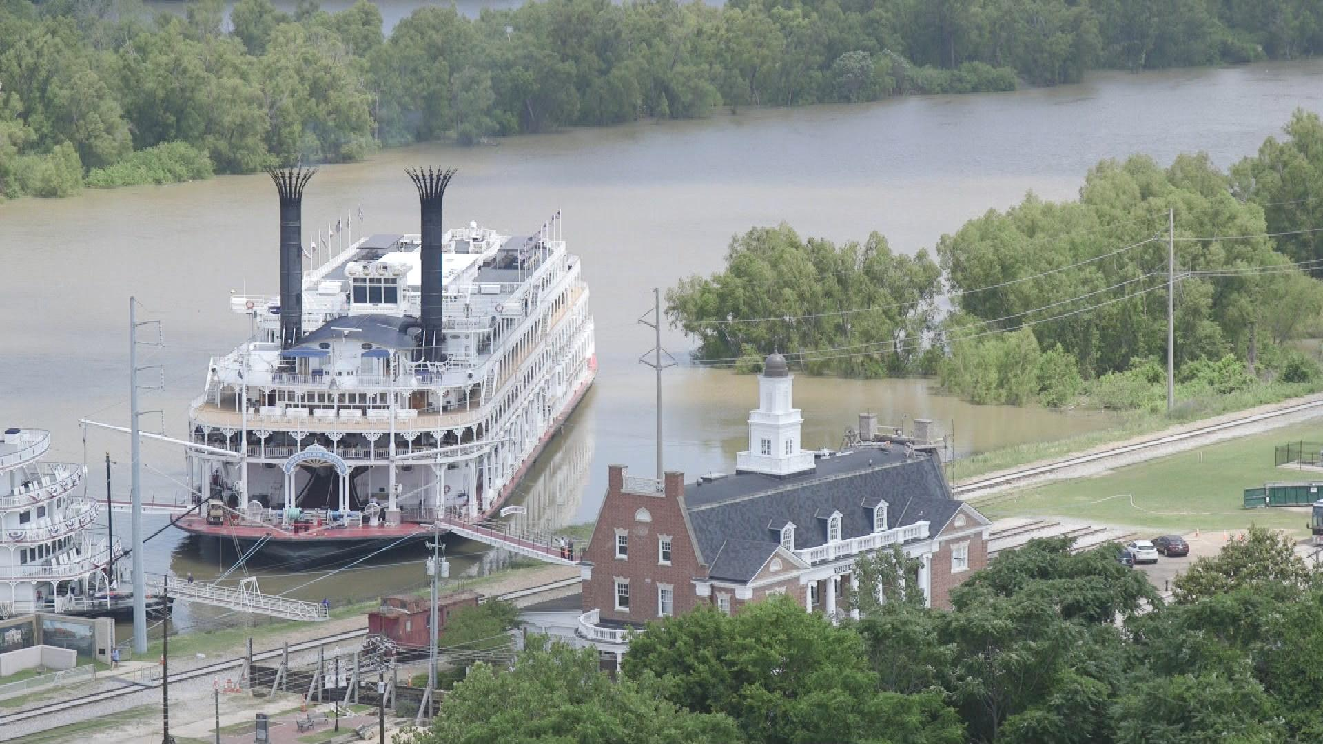 the American Queen docked along the Mississippi