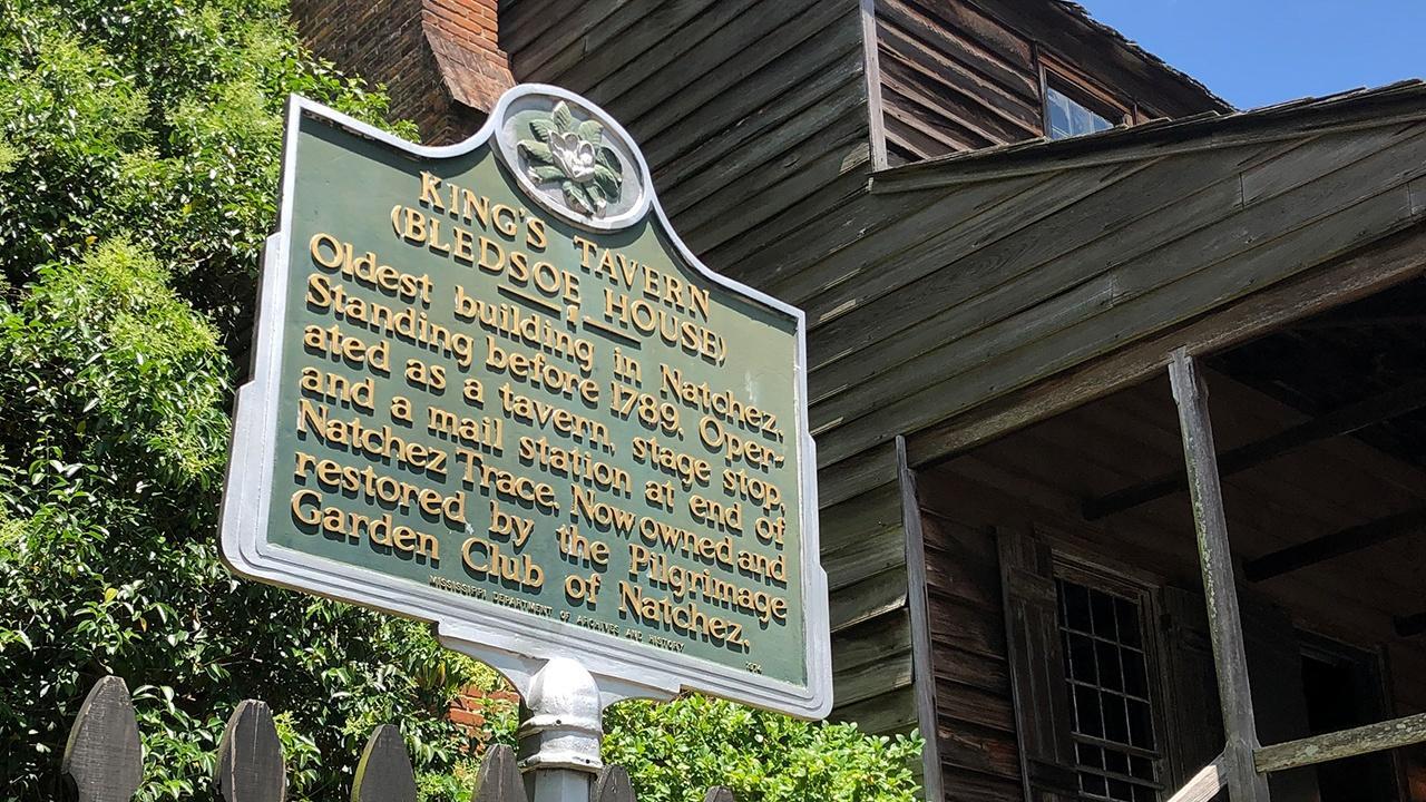 historic marker outside King's Tavern in Natchez, Mississippi