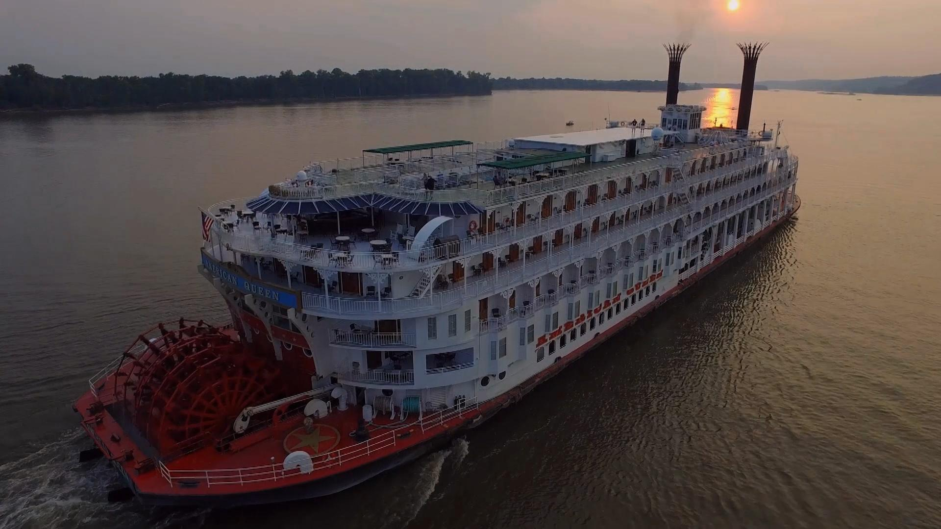 The American Queen on the Mississippi at sunset