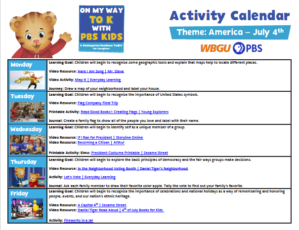 """Click here to view or download the America-themed """"On My Way to K"""" activity calendar."""