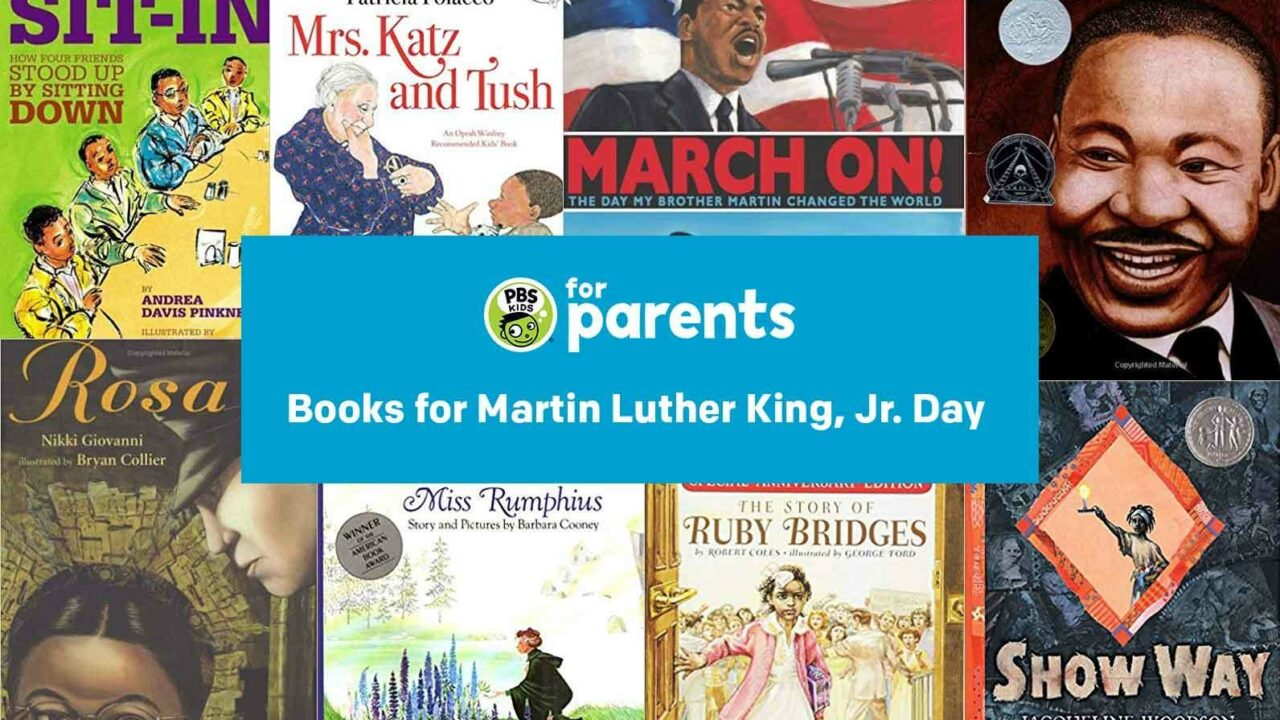 image of a collage of books to read to children about Martin Luther King Jr Day