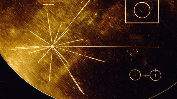 close-up of pulsar map on Voyager's golden disk