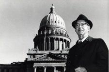 Gene Shumate, the first host, in front of the Capitol