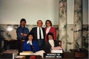 Jeannine Sweat, Marcia Franklin, Pat Metzler, Speaker Tom Boyd, and Barbara Pulling on the House floor