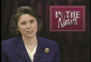 Marcia Franklin at the station's studio in 1997