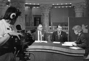 Camera operator Joan Rands, Sen. Denton Darrington, Rep. Ken Robison and Barbara Pulling on the set in 1991