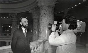 Ricardo Ochoa shooting a standup with reporter Gary Richardson in the mid 1980's