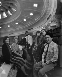 Jeannine Sweat, Barbara Pulling, Pat Metzler, Marcia Franklin, Roger Fuhrman, and Ricardo Ochoa at the Capitol overlooking the House chambers