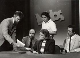 Ken Mundt, Gary Richardson, Barbara Pulling, Ricardo Ochoa, and Bruce Reichert on the set at the Capitol around 1987