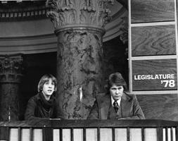 Jean McNeil and Sid Sprecher on the set at the Capitol in 1977